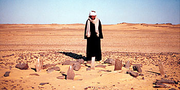 Man standing in desert looking at ancient arrangement of stones on the ground