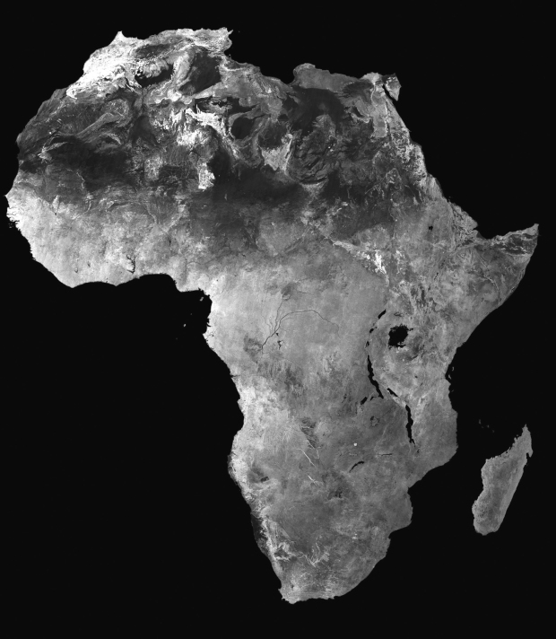 A stunning and detailed black and white image of Africa from space