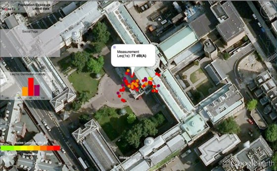 Aerial photo over UCL with balloon sized coloured dots