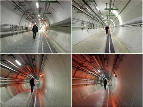 4 photos of a man walking through CERN's underground tunnel