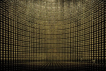 Inside of a vast neutrino detector with tiny boat at bottom. Artwork by Andreas Gursky