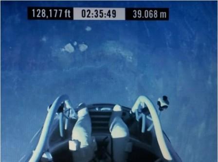 The feet of Felix Baumgartner, just before jumping. 14 October 2012