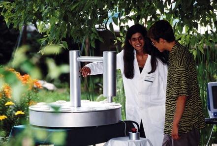 Beatriz with her bacteria release mechanism. GenTerra, Critical Art Ensemble and Beatriz da Costa