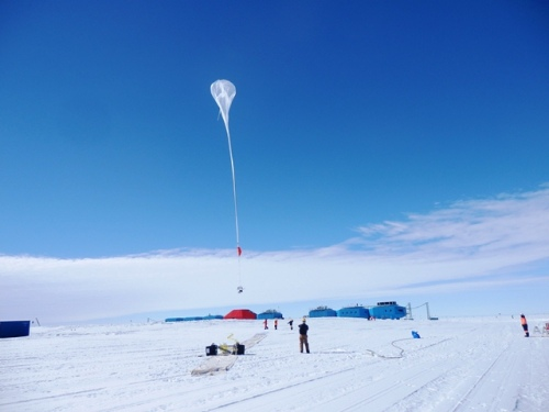 Staff at Halley VI launch a weather balloon to take samples from the atmosphere, British Antarctic Survey