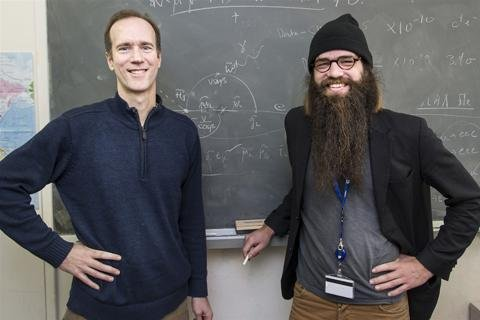 Physicist James Wells with Julius von Bismarck, the first Collide@Cern Artist in Residence