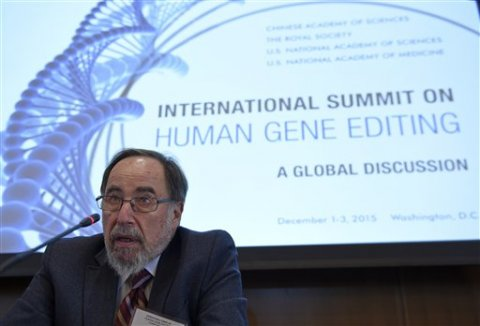 David Baltimore, biologist and Nobel Laureate, presents the final summary at the International Summit on Human Gene Editing